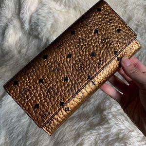 MCM Gold/Black Long Wallet